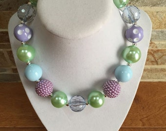 Bubblegum Necklace, Green, Lavender, Blue, Chunky Bubblegum Necklace, Chunky Bead Necklace, Girls Necklace, Gumball Necklace, Photo Prop
