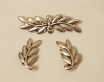 Vintage Danecraft Sterling Silver Brooch and Clip Earrings Demi Parure (B-3-5)