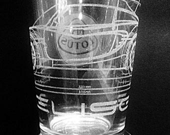 Lotus Elise with Lotus Logo - Laser Etched Pint Glass
