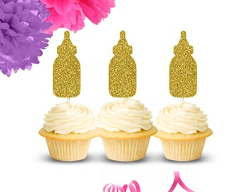 Baby Shower Cupcake Toppers (Set of 12), Baby Bottle Cupcake Toppers, Baby Cupcake Toppers, Gold Cupcake Toppers, Gender Reveal Decor