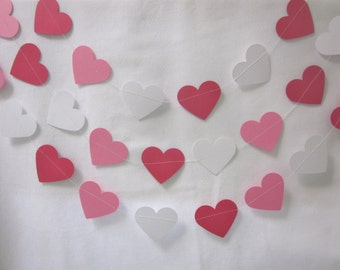 Heart Paper Garland, Pink, Red and White   Valentine Garland, Wedding Garland, Bridal Shower Garland, Valentine party