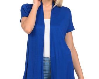 Short Sleeve Open Front Vest Royal Blue