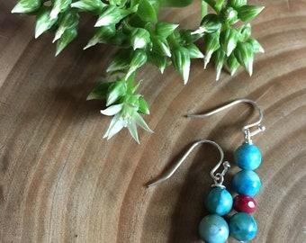 Turquoise & Garnet Beaded Handmade Earrings