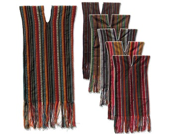 Boho Hippy Gypsy Stripe Kaftan/Caftan Cotton Poncho/Tunic Dress w Fringe
