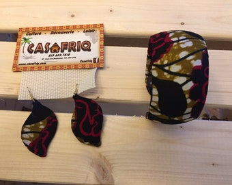 Set Bracelet and earrings in LOINCLOTH print of your choice
