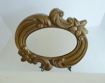 Vintage Ornate Oval Mirror by Miller Studio/Over 50 years old mid century design/Can be painted to suit/Chalkware