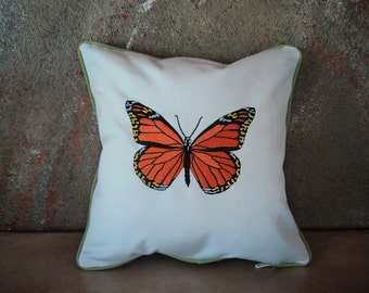 Monarch Butterfly Sunbrella Embroidered Decorative Pillow Cover