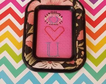 I Love You mini framed cross stitch
