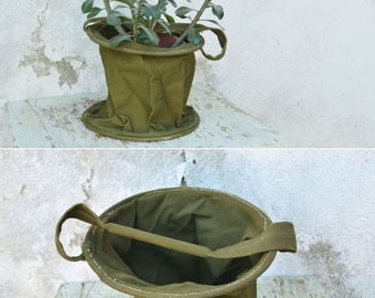 Vintage Military Bucket, Army Green Collapsible Pail, Sturdy Cloth Hanging Planter, Army Shower Pail, Olive Drab Canvas Bucket with Handle
