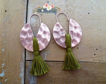 boho ethnic earrings, khaki coton, handmade earrings, old copper, woman gift, mothers day