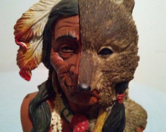 "Very Rare Head To Hip Sculpture Of Native American ""RUNNING WOLF"""