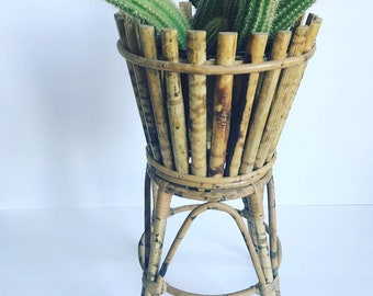 Vintage Bamboo Plant Stand //  Rattan Planter 2 Piece Set