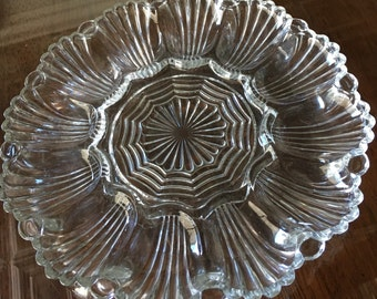 Vintage Anchor Hocking Clear Glass Egg Plate