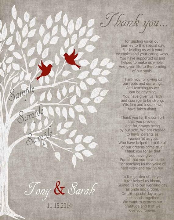 Parents wedding Gift Personalized Parent\'s Poem Thank