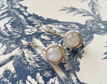 Rainbow Moonstone Beautiful Handmade 925 Sterling Silver Drop Clip Dangle Long Earrings for Women Ladies Gift for Her