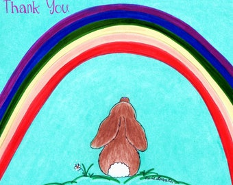 Bunny /  Rainbow  Thank You Cards Greeting Card - Note Cards with White Envelope.