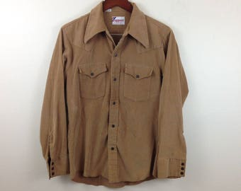 Vintage 70s/80s Rappers Brown Corduroy Metal Snap Front Western Shirt - Size Medium - Made in USA