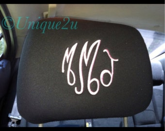 Set of 2 Monogrammed Headrest covers, black, tan, gray