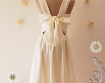 Fairy Wings - Bachelorette Party Dress Off White Dress Bow Dress Backless Dress Bridesmaid Dress Cheap Wedding Dress -XS-XL,Custom
