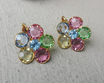 Soft Pastel Crystal Flower Rhinestone Easter Bridal Spring Wedding Clip On Earrings Maid of Honor Gift for Her Jewelry Mom Grandmother