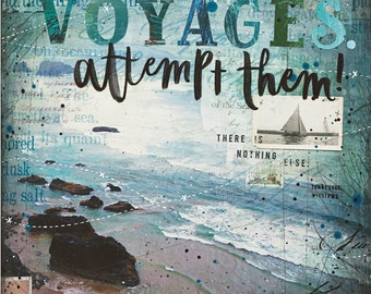 Voyages - typographic ocean word art poster - Tennessee Williams inspirational ocean word art