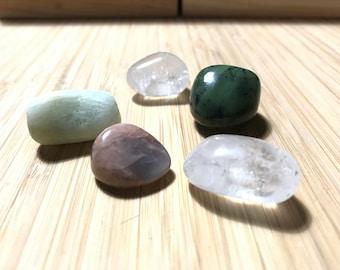 Gemini Crystals, Moonstone, Aquamarine, Jade, Crystal Quartz, Tumbled Natural Stones, Astrology Crystals, Meditation, Yoga, Chakra, Gemini