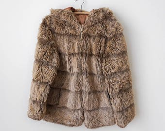 Vintage 1970's Brown Faux Fur Coat with Hood