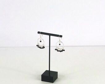 Black Spinel Sterling Silver Dreamcatcher Earrings