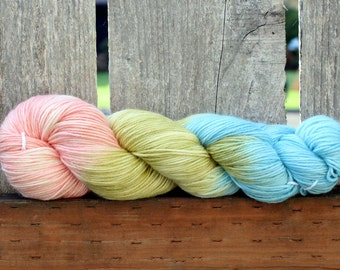Pear Blossom - Hand Painted Superwash Merino Yarn Sport DK Light Worsted