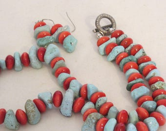 Green Turquoise and Tangerine Pottery Beads - Necklace and earring set