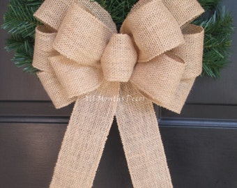 Burlap Bow | Burlap Wreath Bow | Rustic Home Decor | Wedding Pew Bow | Christmas Tree Topper | Holiday Decorations