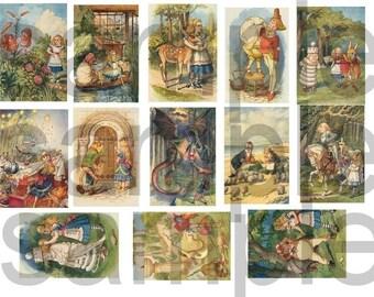 Vintage 1930s Tenniel ALICE in WONDERLAND in Color Digital Collage Sheet