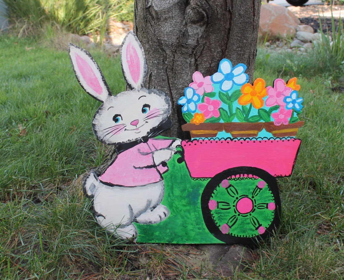 Retro bunny yard decor vintage look rabbit handmade wood for Handmade yard decorations