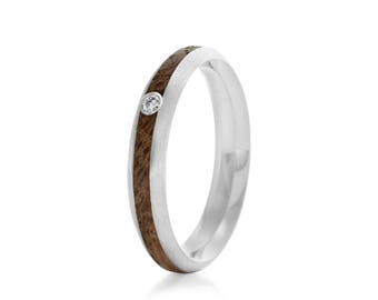 Native Oval Moissanite, 4mm - wood engagement ring UK