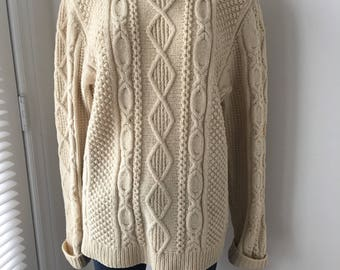 Vintage Irish pure Wool sweater hand knit Fisherman's Aran Cable knit Pullover Handcrafted Cream knitwear Very thick Heavy Sweater 1970's