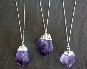 Amethyst Necklace / Amethyst Jewelry / Silver Amethyst Necklace / February Birthstone / Raw Amethyst Necklace