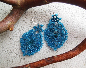 SALE, Teal-blue earrings,  tatted lace, tatting jewelry, blue-marine earrings, jewelry lace, gift for her, statement earrings, turquoise