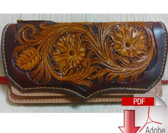 Pattern long wallet leathercraft tools leather craft + picture  for carving