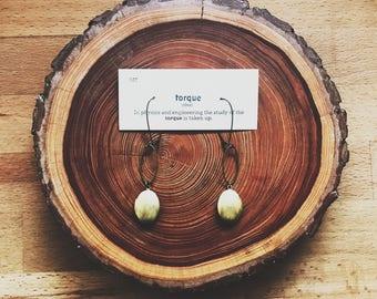 brass locket oval earrings