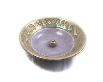 Incense Burner Spiral Handmade Raku  Pottery