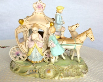Vintage Dresden Lady Horse Drawn Carriage Bisque Figurine or Lamp Base