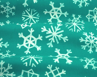 Snowflakes in Teal - Garland collection by Cotton + Steel - fabric by the fat quarter, half yard, yard or more