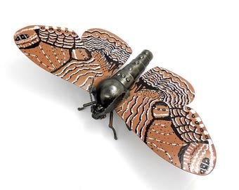 Metal sculpture Butterfly Brahmaea. large moth. Mechanical butterfly figurine. Metal butterfly. Sculpture butterfly. Metal Moth Butterfly.