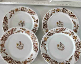 Vintage Haviland Limoges Plates Set Schleiger 486-7 Yellow Brown Red Flowers Floral Salad Appetizer Dessert Thanksgiving Tableware Dishes