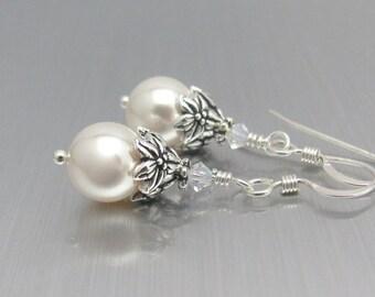 White Pearl Earrings, Sterling Silver, Wedding Earrings, Swarovski Crystal White Pearls, Bridesmaid Earrings, Wedding Jewelry, Mother Bride