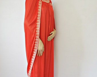 Vintage Goddess Nightgown Romanesque Caftan Cleopatra Red Gold Embroidered Size Medium