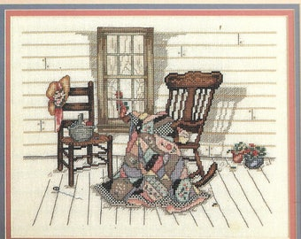Leisure Arts Aunt Verdi's Porch Paula Vaughan Counted Cross Stitch Color Pattern Book Charted Design Needlework :Leaflet 448 Folk Art