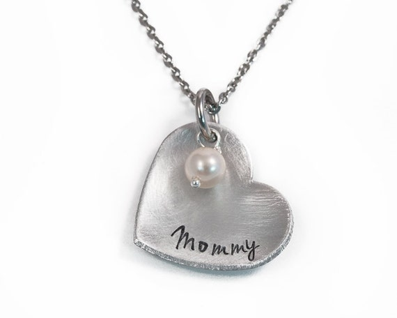 Heart mommy necklace handstamped mothers necklace like this item aloadofball Choice Image