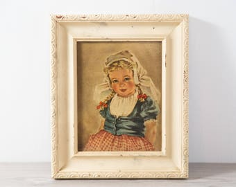 Small Vintage Print / Framed Rustic Print of Sitting Dutch Girl in White Distressed Frame / Titled Katerina / Processed on Wood by Nostra