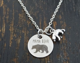 Mama Bear Necklace, Mama Bear Charm, Mama Bear Pendant, Mama Bear Jewelry, Momma Bear Necklace, Momma Bear Jewelry, Mama Bear Baby, Mom Gift